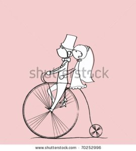 stock-vector-wedding-picture-bride-and-groom-ride-bikes-vector-70252996